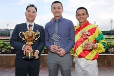 The victorious team: (from left) owner Wong Chi Tat, trainer Kuah Cheng Tee and jockey Benny Woodworth