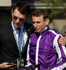 The 'A' Team. Aidan O'Brien and Ryan Moore … the trainer and jockey of the ill-fated The Cliffsofmoher pictured in better times after their success with Highland Reel during the Longines Hong Kong International races back in December 2017.