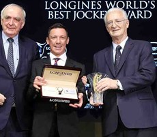 Mr Walter von Känel, President of LONGINES (left), and Mr. Louis Romanet (right), Chairman of the International Federation of Horseracing Authorities (IFHA), co-present the LONGINES World's Best Jockey Award trophy for 2018 and a Longines watch to Mr. Frankie Dettori, at the gala dinner of the LONGINES Hong Kong International Races held on 7 December at the Hong Kong Convention & Exhibition Centre.