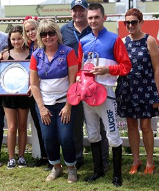 The team with winning jockey Brendon Davis with the Memorial Trophies for the winning jockey