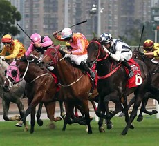 The Danny Shum-trained Seasons Bloom (No. 6), ridden by Joao Moreira, wins the G2 BOCHK Wealth Management Jockey Club Mile